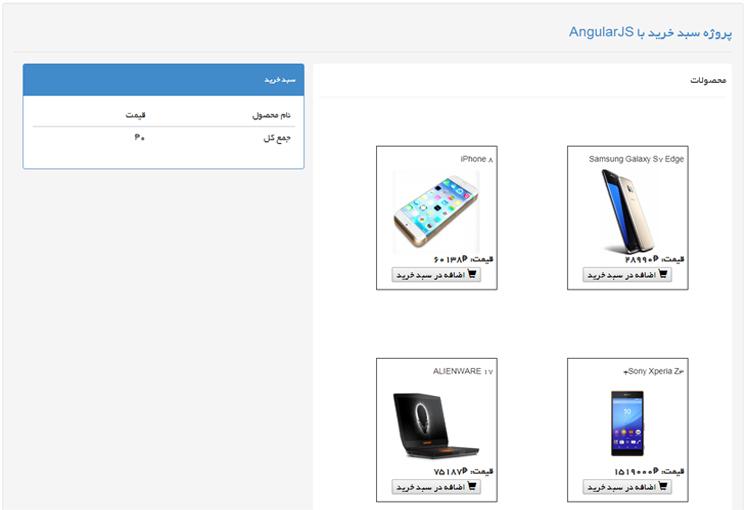 سبد خرید در Angularjs