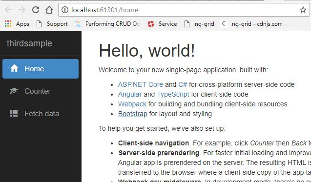 انگولار در 0.NET Core 2